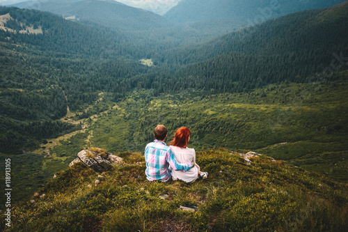 Poster Couple in Beautiful Carpathian Mountain Landscape