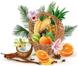 Basket with fruits and spices