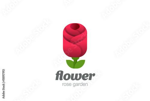 Zdjęcia na płótnie, fototapety, obrazy : Rose Flower Logo geometric design vector. Garden Logotype