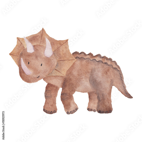 Fotografiet Dinosaur Watercolor Hand painted illustration Isolated Kids Baby Dino Painting