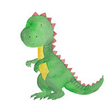 Dinosaur Watercolor Hand Painted Illustration  Kids Baby Dino Painting  Wall Sticker