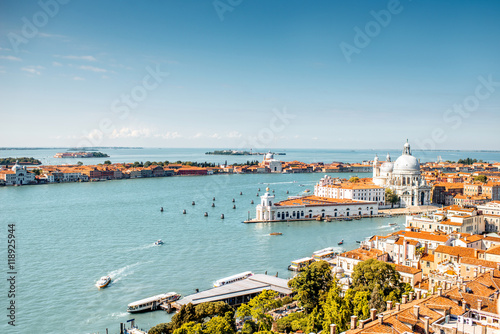 Aerial cityscape view on Venice old town with Santa Maria basilica at the sunny Poster