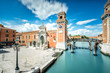Quadro Venetian Arsenal in Castello region in Venice. Long exposure image technic with motion blurred clouds