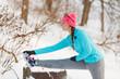 Girl exercising on bench