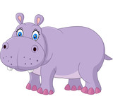 Cute hippo isolated on white background