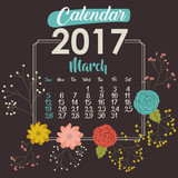 2017 march year calendar flowers floral garden planner month day icon. Colorful and Flat design. Vector illustration