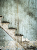 Dark very old wall texture and stain stairs for design website,