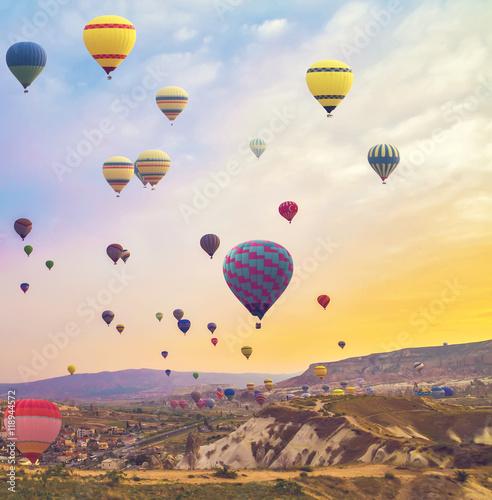 Deurstickers Ballon Hot Air Balloon In The Mountain