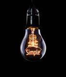 Hanging lightbulb with glowing Simple concept. - 118947560
