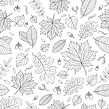 Autumn seamless pattern with seeds and leaves - 118957173