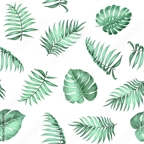 Materiał do szycia Topical palm leaves on seamless pattern for fabric texture. Vector illustration.