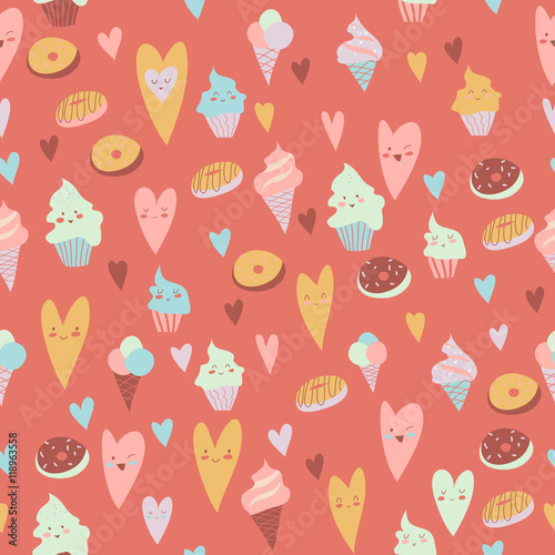 Cotton fabric Beautiful seamless pattern of sweets on gray background