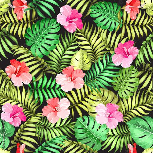 Stoffe zum Nähen Tropische Blumen und Palmen Dschungel über schwarzen Hintergrund für Stoff. Vektor-Illustration.