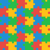 Seamless Colored Puzzle Pattern