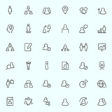 Human management icons, simple and thin line design