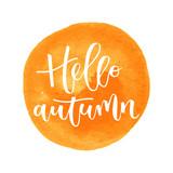 Hello autumn hand written inscription - 118969120