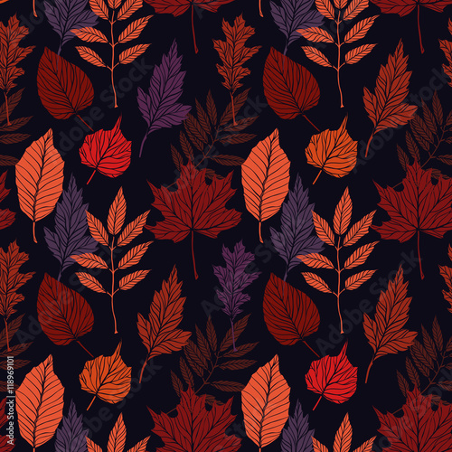 Hand drawn vector illustration. Seamless pattern with fall leaves