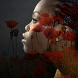 Double exposure portrait of beautiful woman. Beauty portrait of