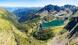 Valgerola - Valtellina (IT) - Vista aerea della Diga di Trona con Monte Disgrazia sullo sfondo