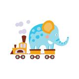 Elephant On Train Wagon Stylized Fantastic Illustration