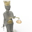 Постер, плакат: Themis goddess of justice with golden crown 3d rendering