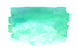 Fototapety Teal green gradient rectangle painted in watercolor on white isolated background
