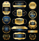 Premium and luxury golden retro badges and labels collection