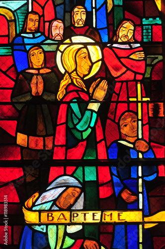 Naklejka Conflans Sainte Honorine, France - april 4 2016 :church