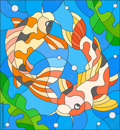 illustration-in-stained-glass-style-with-a-pair-of-carps-on-the-background-of-water-and-algae