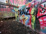 Urban ghetto spray painted graffiti park in Austin, Texas