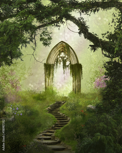 Fantasy antique gate in the forest - 118987352