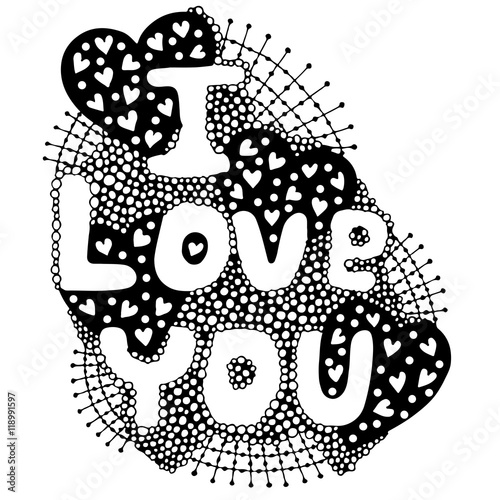 Obraz The vector word lettering I love you with heart