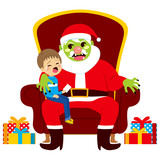 Santa zombie sitting with crying kid holding letter with Christmas presents wishes
