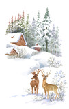 Fototapety Watercolor winter landscape with deers.