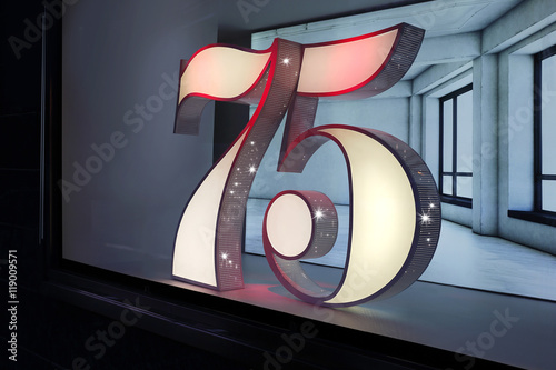 75th anniversary numbers as an installation Poster