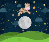Hey Diddle Diddle Nursery Rhyme Landscape with Cow Jumping Over the Moon