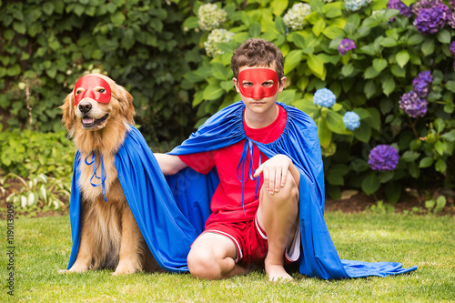 Poster Super boy and super dog in cape and mask