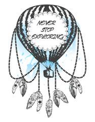 Hand-drawn balloon dream catcher with feathers. Bohemian, vintage style
