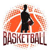 Basketball vintage halftone label