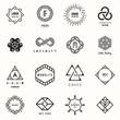 Set of badges and labels elements. Modern geometric design. Logos and monograms. Vector illustration, EPS 10.