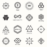Set of badges and labels elements. Modern geometric design. Logos and monograms. Vector illustration, EPS 10.