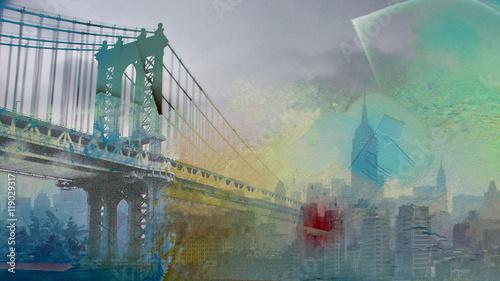 Fototapeta Manhattan Bridge Painterly