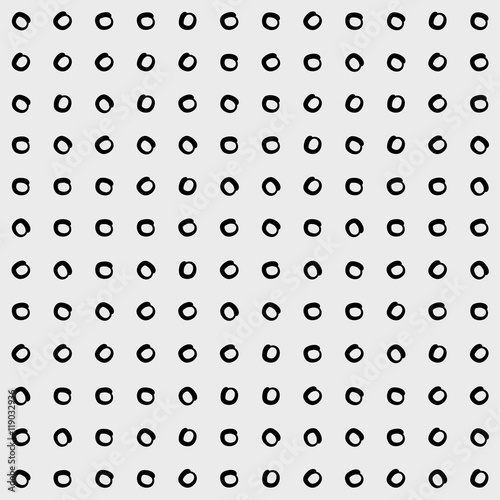 Minimal monochrome handwritten pattern dots, rounds - 119032936
