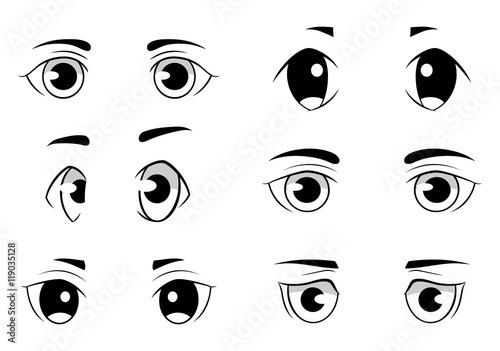 Set of anime style eyes isolated on white background - 119035128