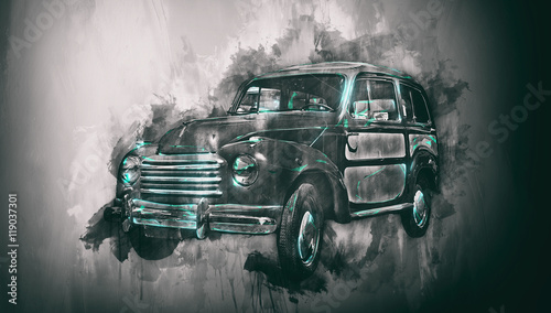 Fototapeta Old car painting with dark vignette