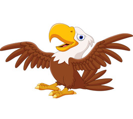 Cartoon funny eagle flying
