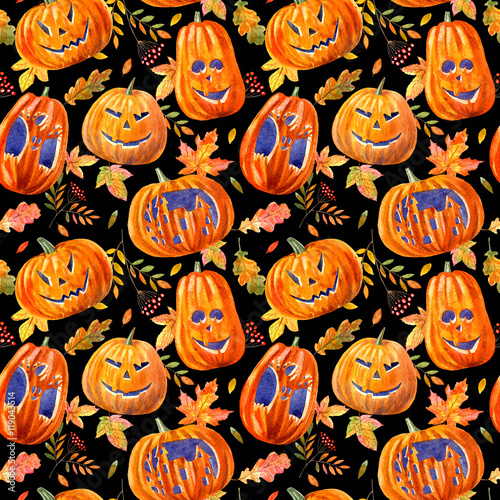 Cotton fabric seamless pattern with pumpkin lanterns, maple leaves, oak and rowan .watercolor hand drawn illustration.black background.halloween