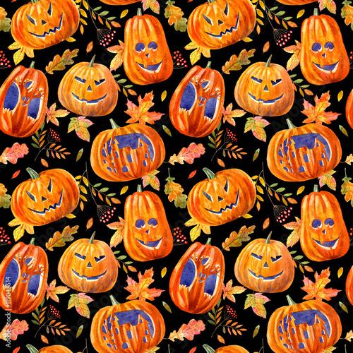 Materiał do szycia seamless pattern with pumpkin lanterns, maple leaves, oak and rowan .watercolor hand drawn illustration.black background.halloween