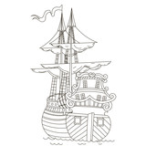 Ship. Doodle Vector illustration.