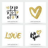 Set of love cards for Valentine's Day or wedding